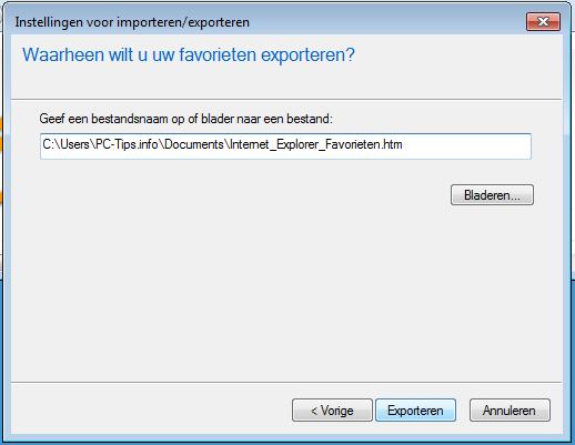 Internet Explorer favorieten exporteren - opslaan