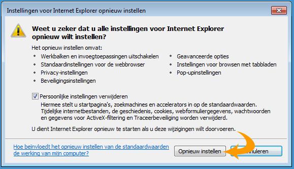 Internet Explorer herstellen