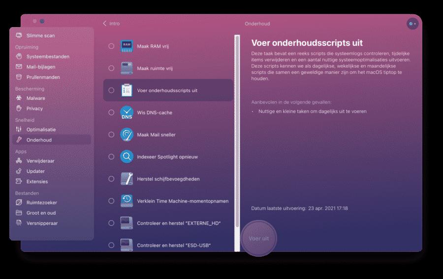 Cleanmymac onderhoud mac