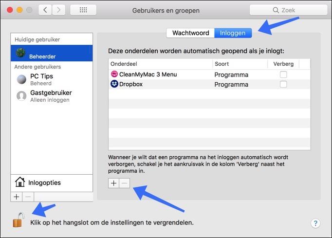 gebruikers en groepen inloggen mac sneller maken opschonen