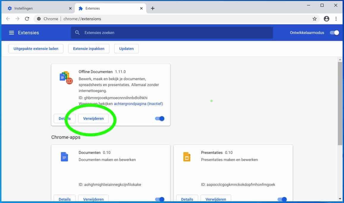 google chrome extensie verwijderen
