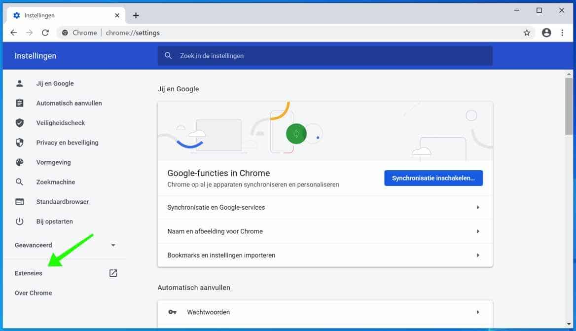 google chrome extensies