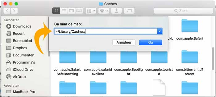 mac os cache bestanden opruimen finder folder