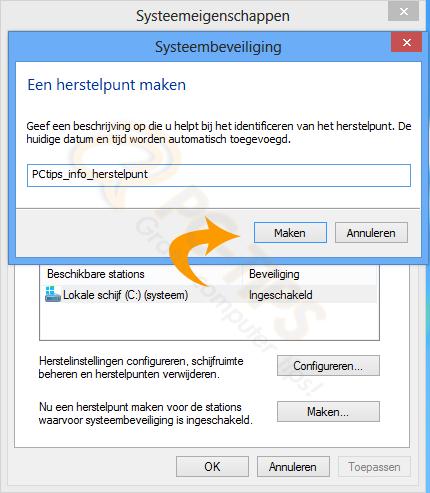 Windows 8 herstelpunt maken