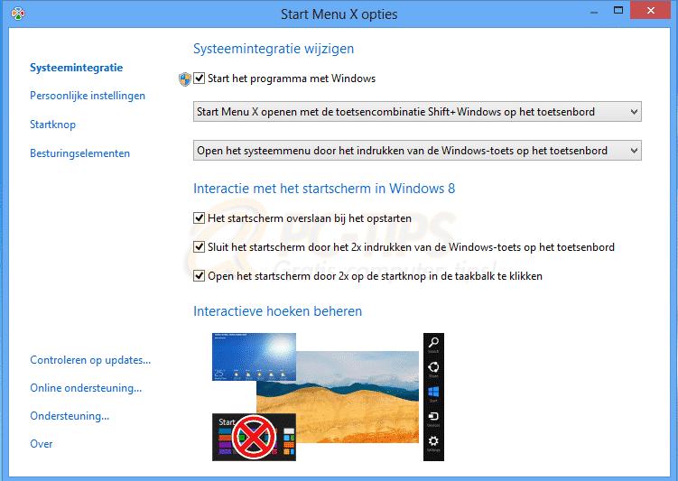 Windows 8 startknop opties