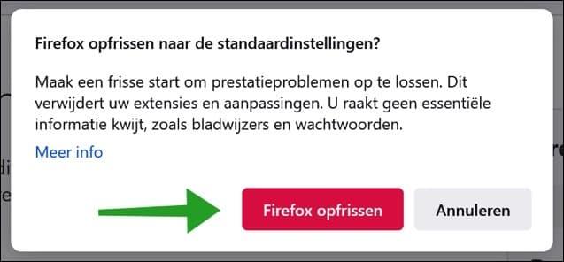 Firefox opfrissen naar standaardinstellingen