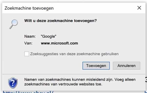 Google zoekmachine toevoegen aan internet explorer