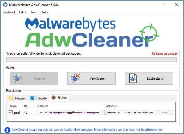 Reimage Repair verwijderen met AdwCleaner