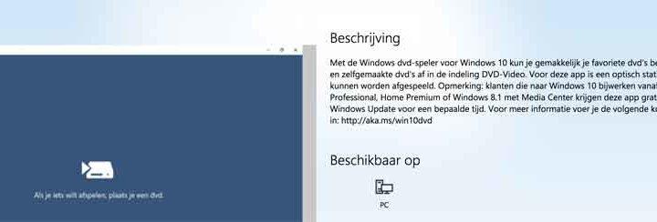 Windows 10 heeft geen DVD speler software (Oplossing)