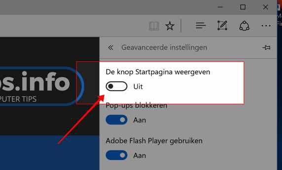 Microsoft Edge startpagina knop toevoegen - de knop startpagina weergeven