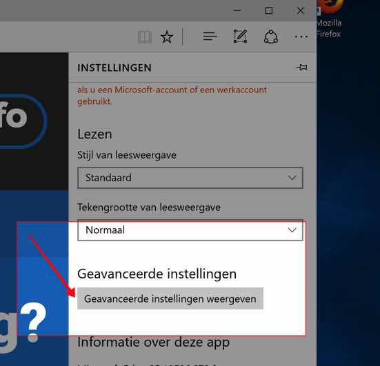 Microsoft Edge startpagina knop toevoegen - geavanceerde instellingen