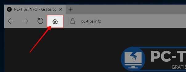 Microsoft Edge startpagina knop toevoegen - startpagina knop toegevoegd