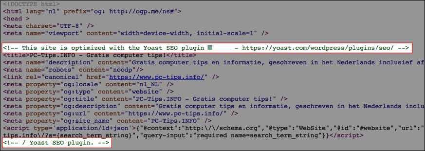 Yoast SEO Commentaar uit source code verwijderen
