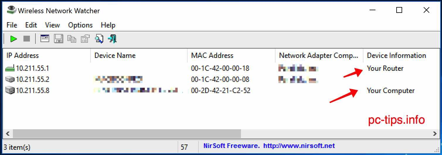 Wireless Network Watcher PC-Tips.info
