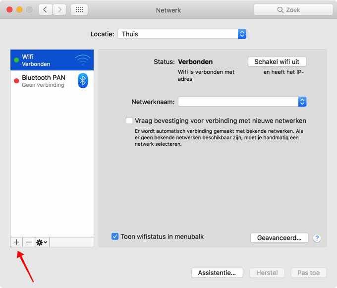 vpn instellen macos - netwerk scherm