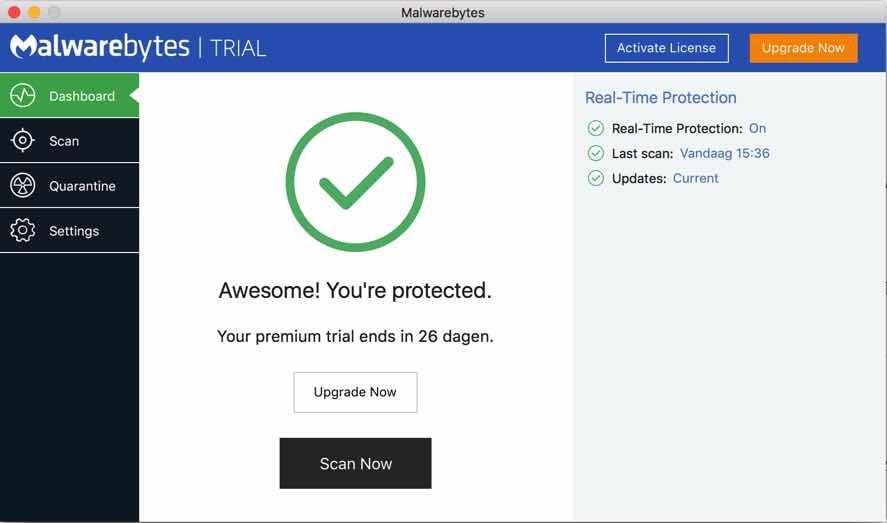 malwarebytes voor mac uiterlijk
