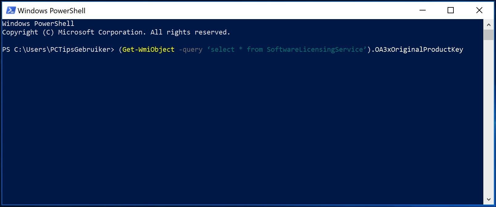 windows licentie code opzoeken met powershell