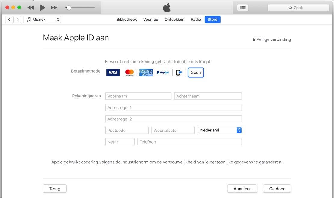 apple id aanmaken zonder creditcard of paypal