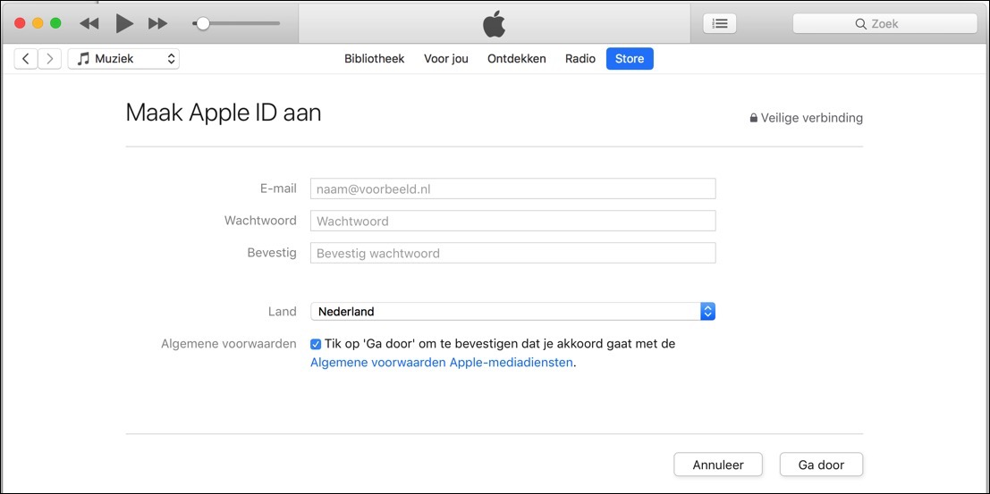 apple id zonder betaling gegevens