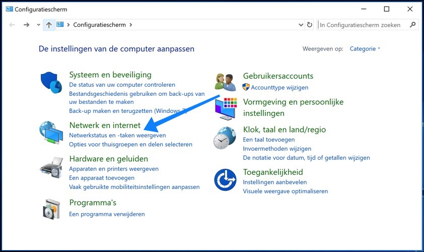 windows 10 netwerkstatus en taken weergeven