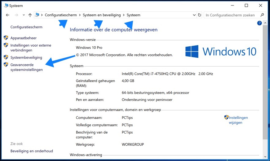 windows configuratiescherm