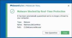 riskware.bitcoinminer securedisk.exe verwijderen