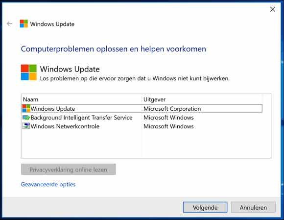 windows 10 probleemoplosser