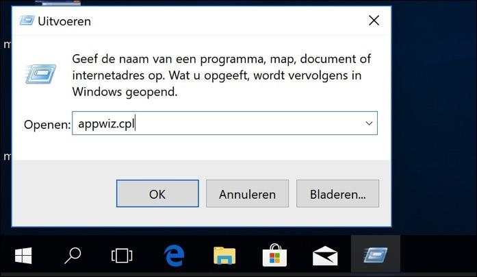 appwiz software verwijderen