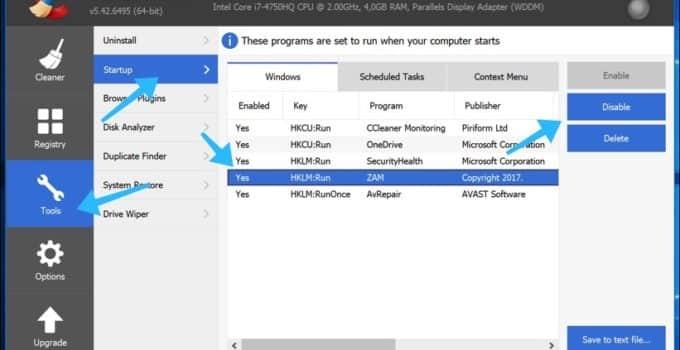 ccleaner opstart programma uitschakelen windows