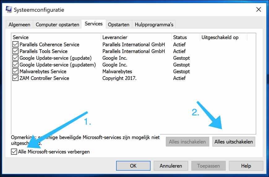 msconfig services uitschakelen