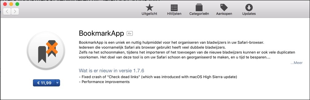 BookMarkApp verwijderen dubbele bladwijzers bookmarks Safari
