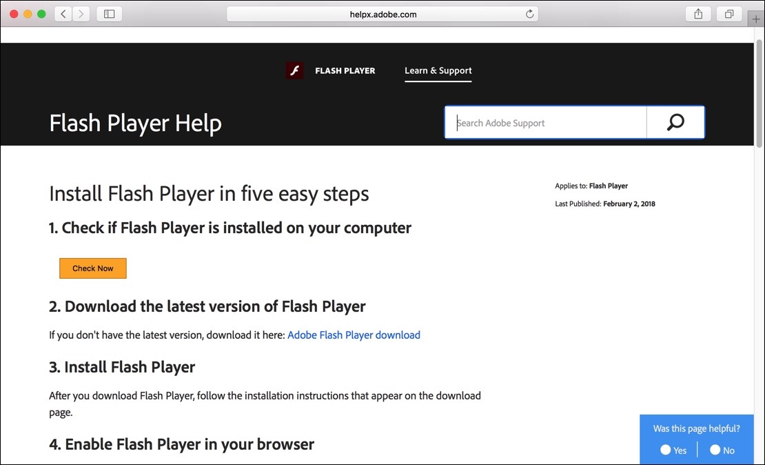 Flash player controleren Mac
