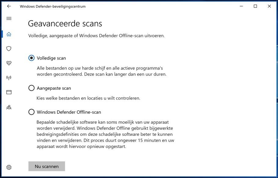 Windows Defender antivirus volledige scan uitvoeren