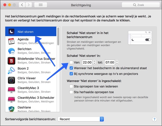 berichtgeving configureren mac