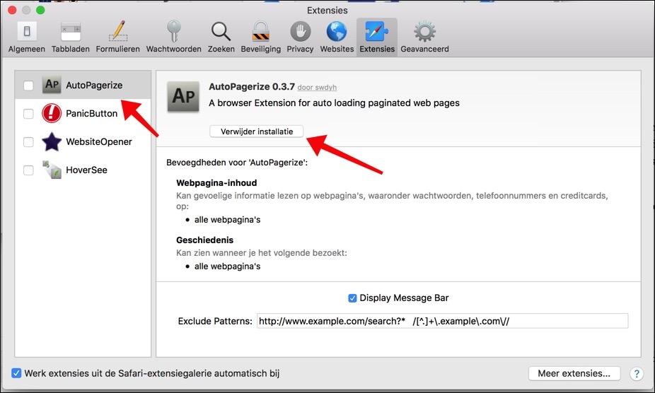 extensie verwijderen uit Safari mac