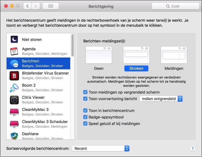 meldingen wijzigen per applicatie mac