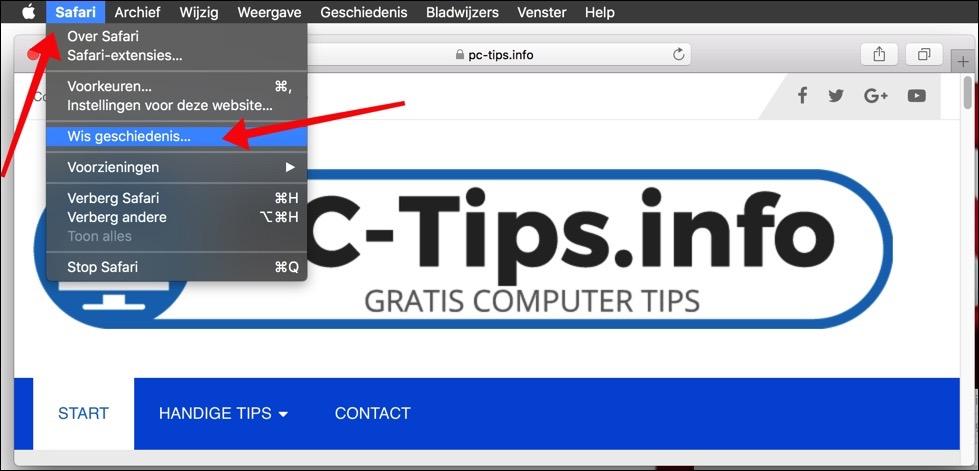 safari cache en browser geschiedenis verwijderen