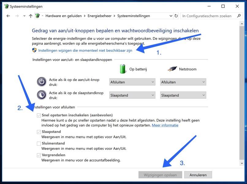 snel opstarten uitschakelen windows 10