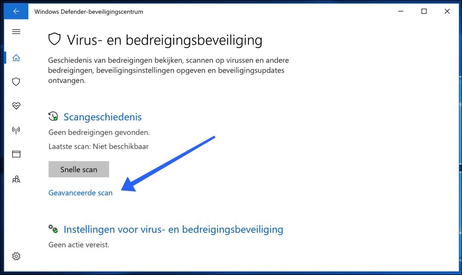 virus en bedreigingsbeveiliging windows geavanceerde scan