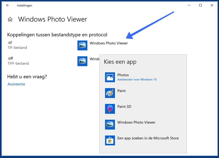 bestandstype per applicatie windows 10
