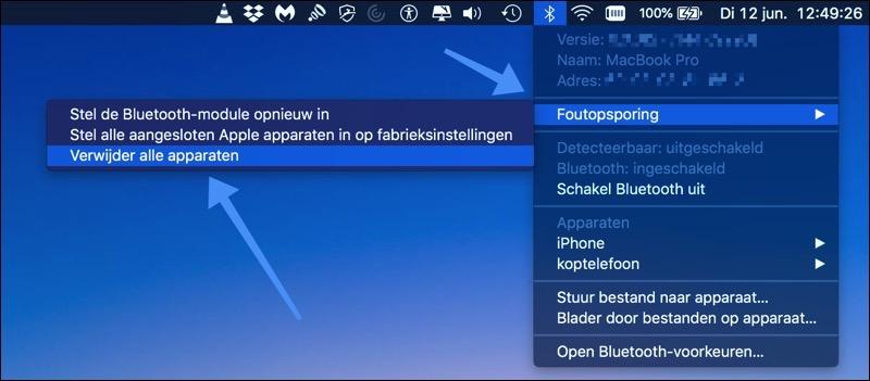 bluetooth verwijder alle apparaten mac