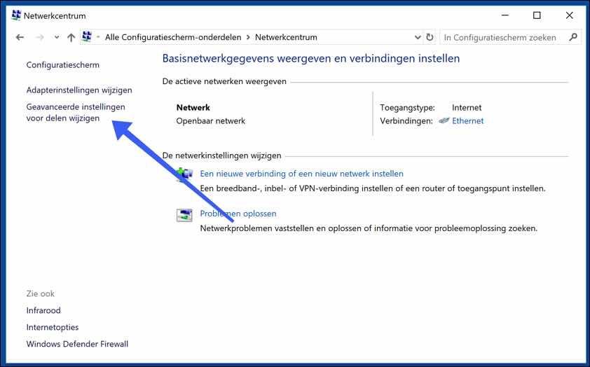 geavanceerde instellingen voor delen windows 10 DLNA