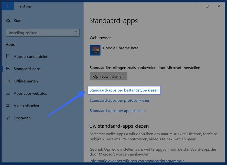 windows 10 standaard apps per bestandstype kiezen