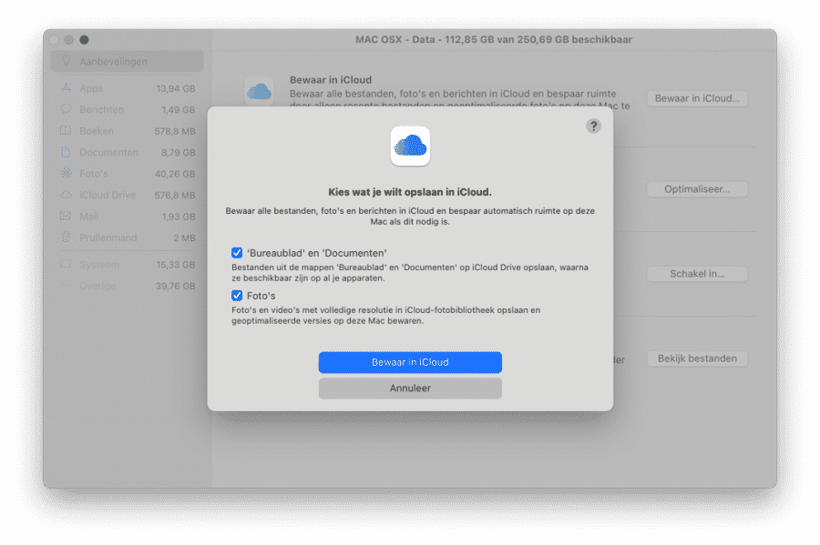 Aanbevelingen - Bewaar in iCloud