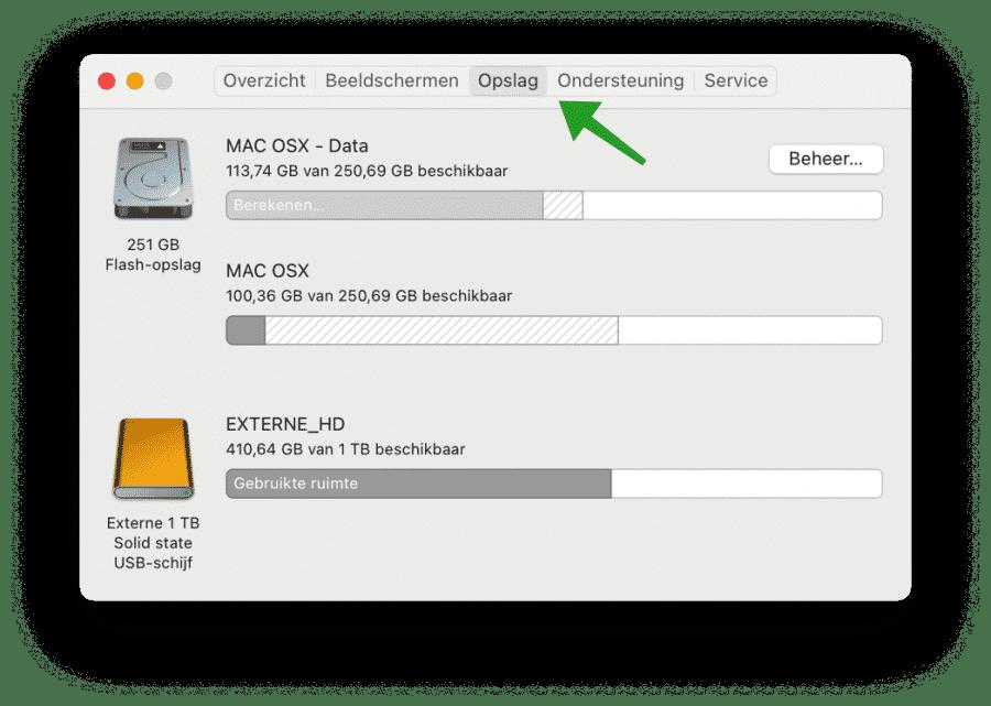 Opslag instellingen op Mac