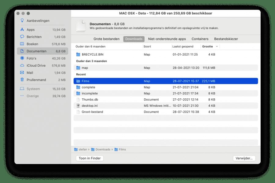 Schoon documenten op met Aanbevelingen mac