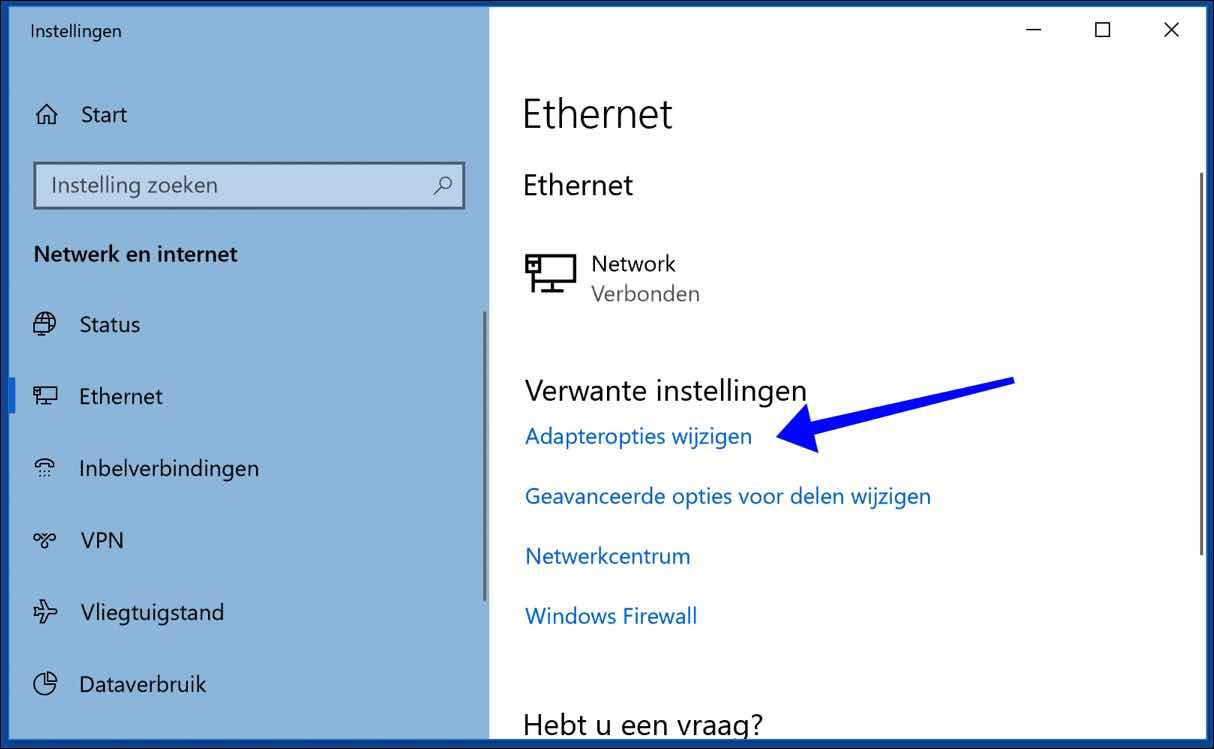 adapteropties wijzigen windows 10 edge