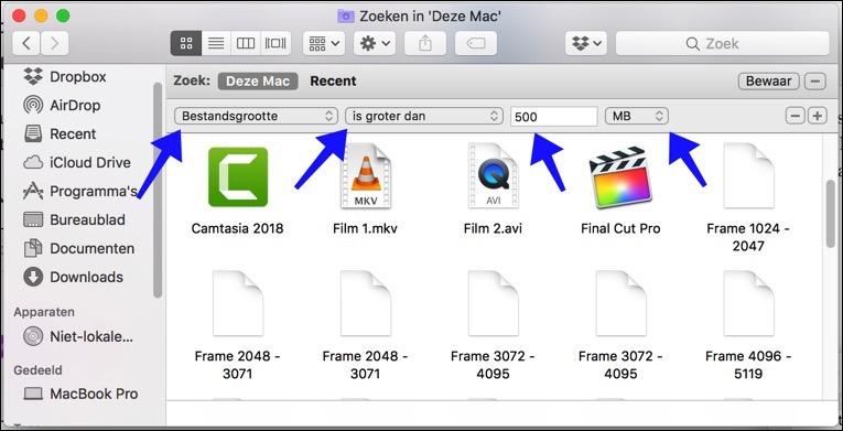 bestandsgrootte opstartschijf mac opschonen filter