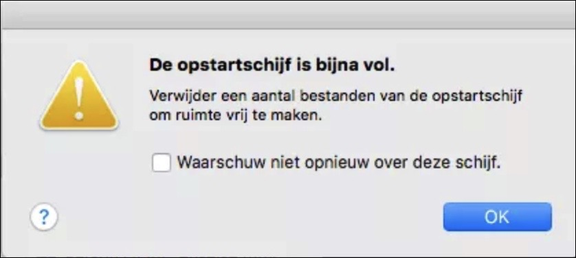 de opstartschijf is bijna vol melding mac