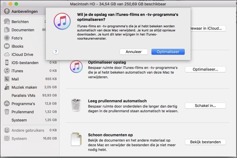 itunes optimaliseren ruimte besparen opstartschijf mac
